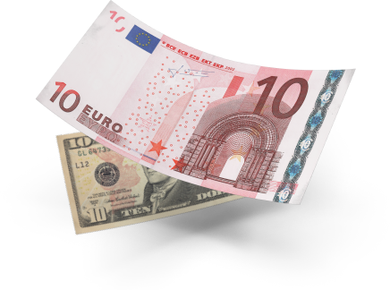 EURUSD pair, 10 euros and 10 dollars